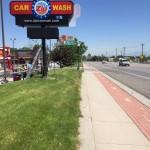 car wash pole sign